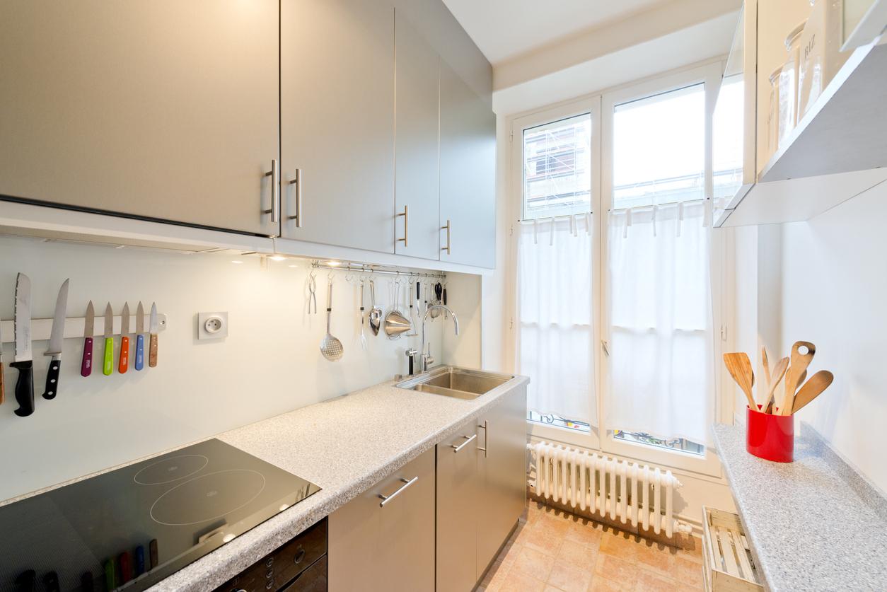 Modern  luxury  kitchen condo apartment.