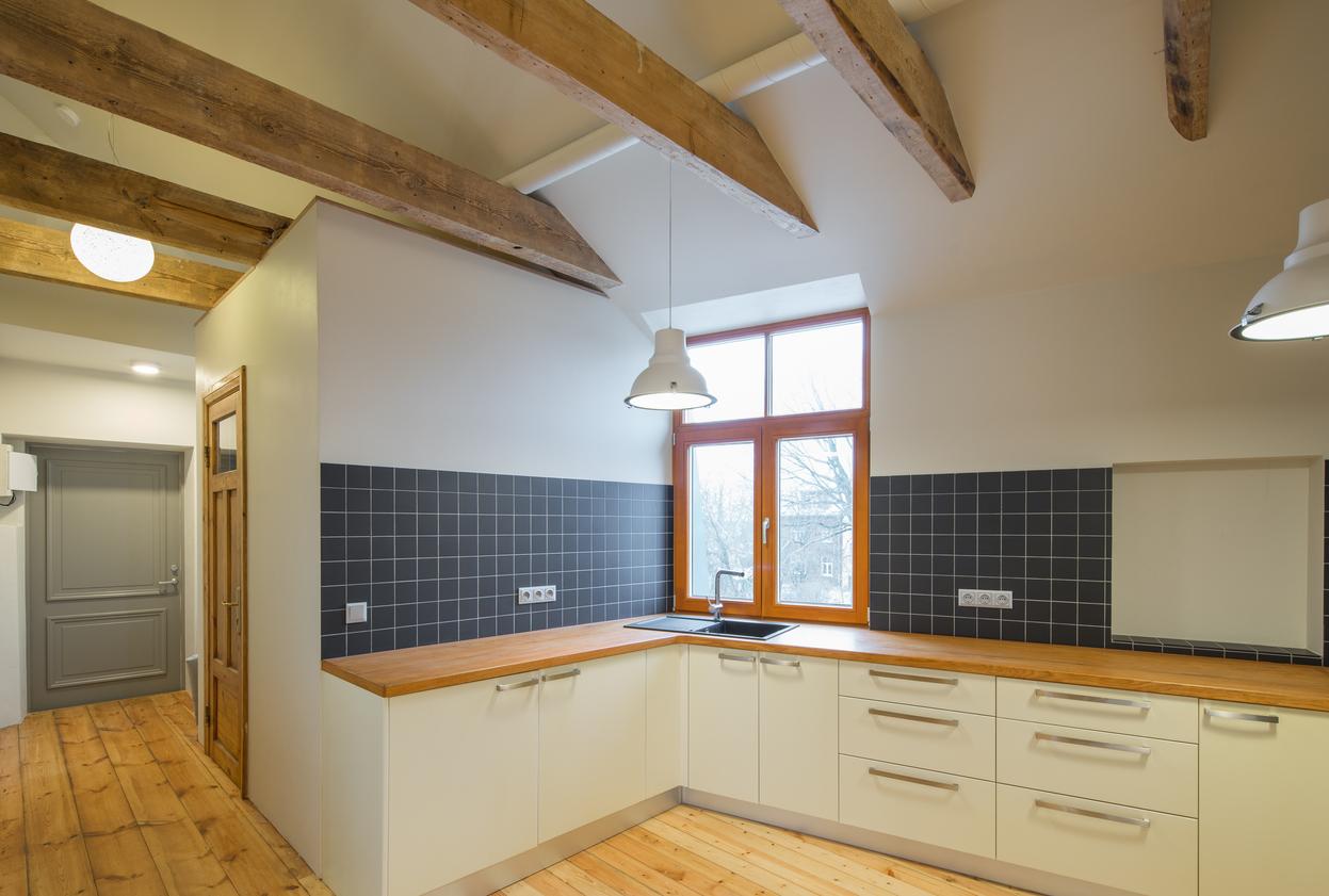 Kitchen interior in wooden style. Modern wooden interior design.