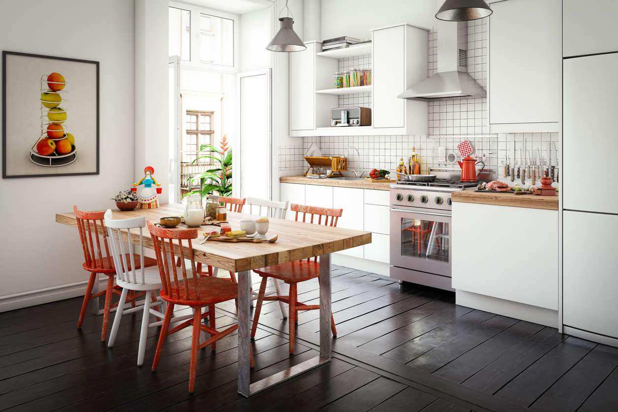 Scandinavian Domestic Kitchen and Dining Room