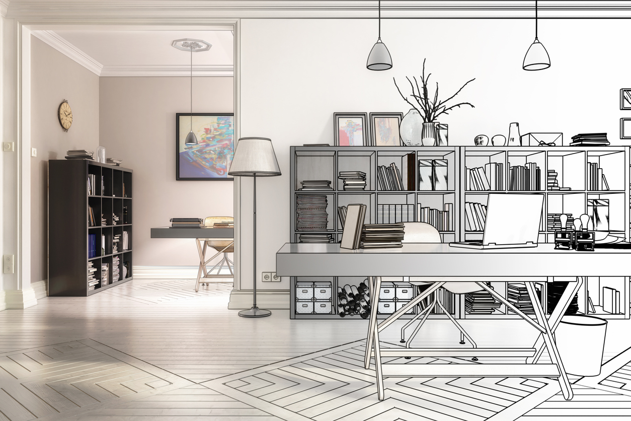 Redesign in an office (drawing) - 3d illustration
