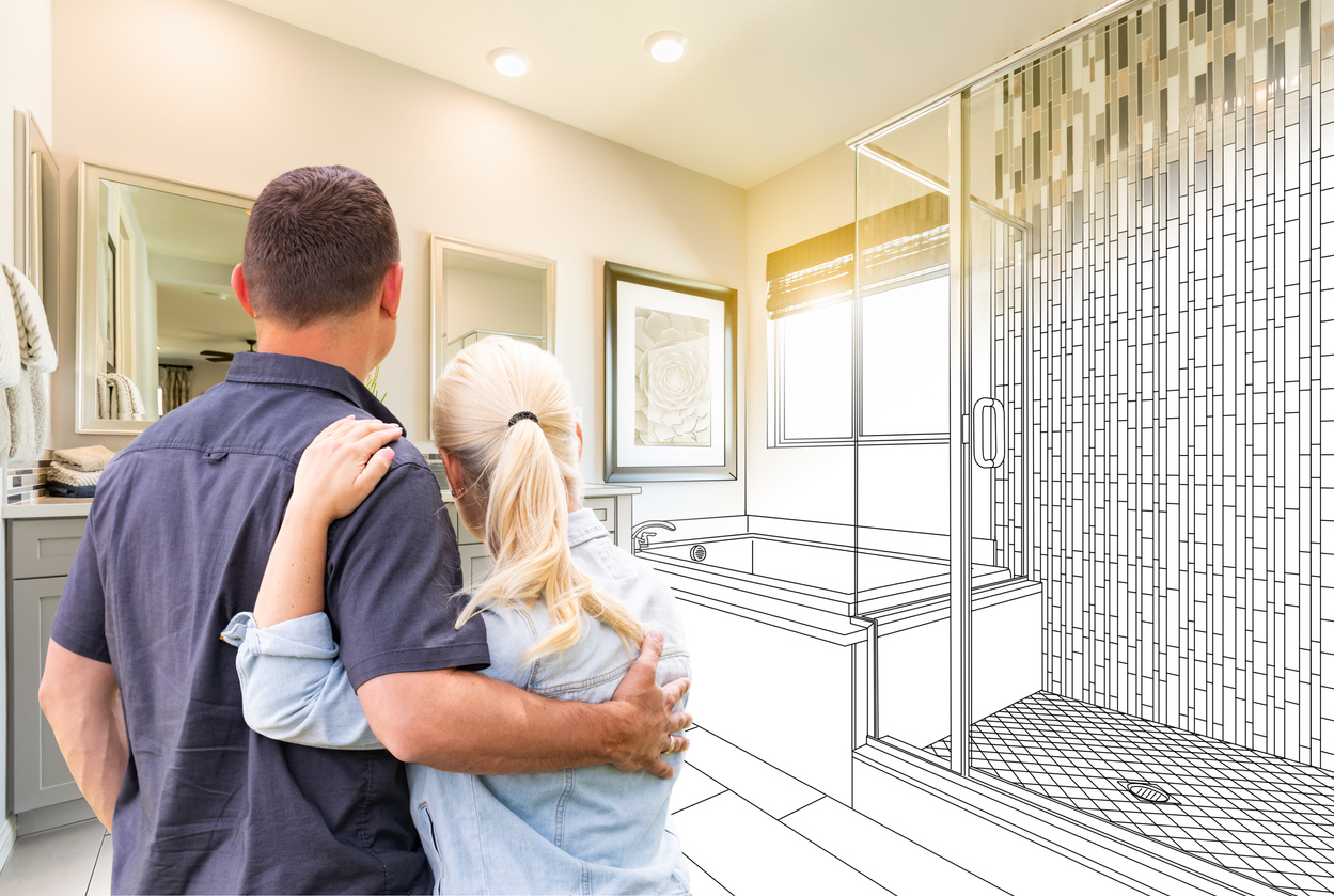 Couple Facing Bathroom Drawing Gradating To Photo