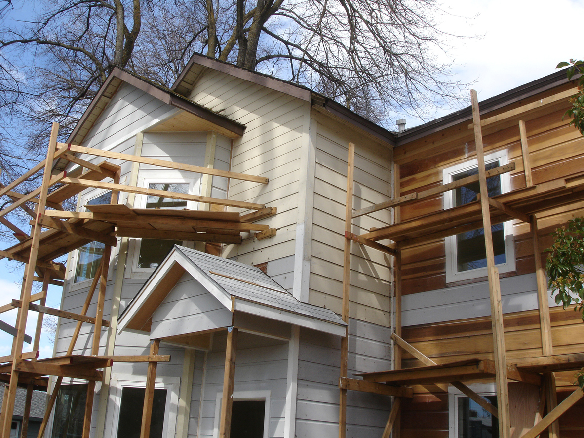 Wooden scaffolding put up drying home construction